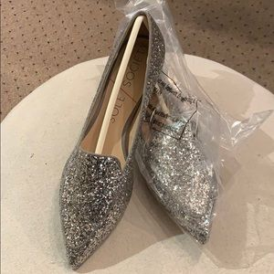 Silver glitter loafer